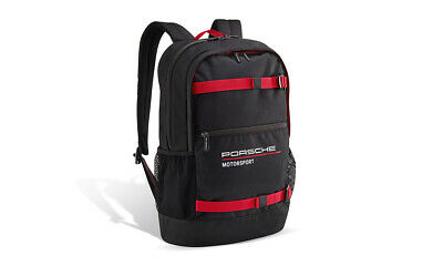 Porsche Motorsport Backpack Rucksack Black Red Padded Laptop Compartment