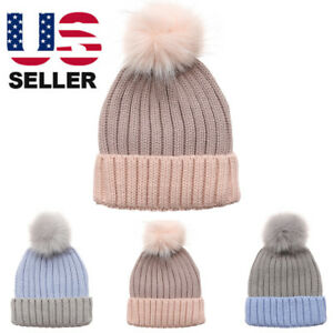 5171d81915a27 Women s Winter Two-Tone Rib Knitted Ski Cuff Beanie Hat with Pom Pom ...