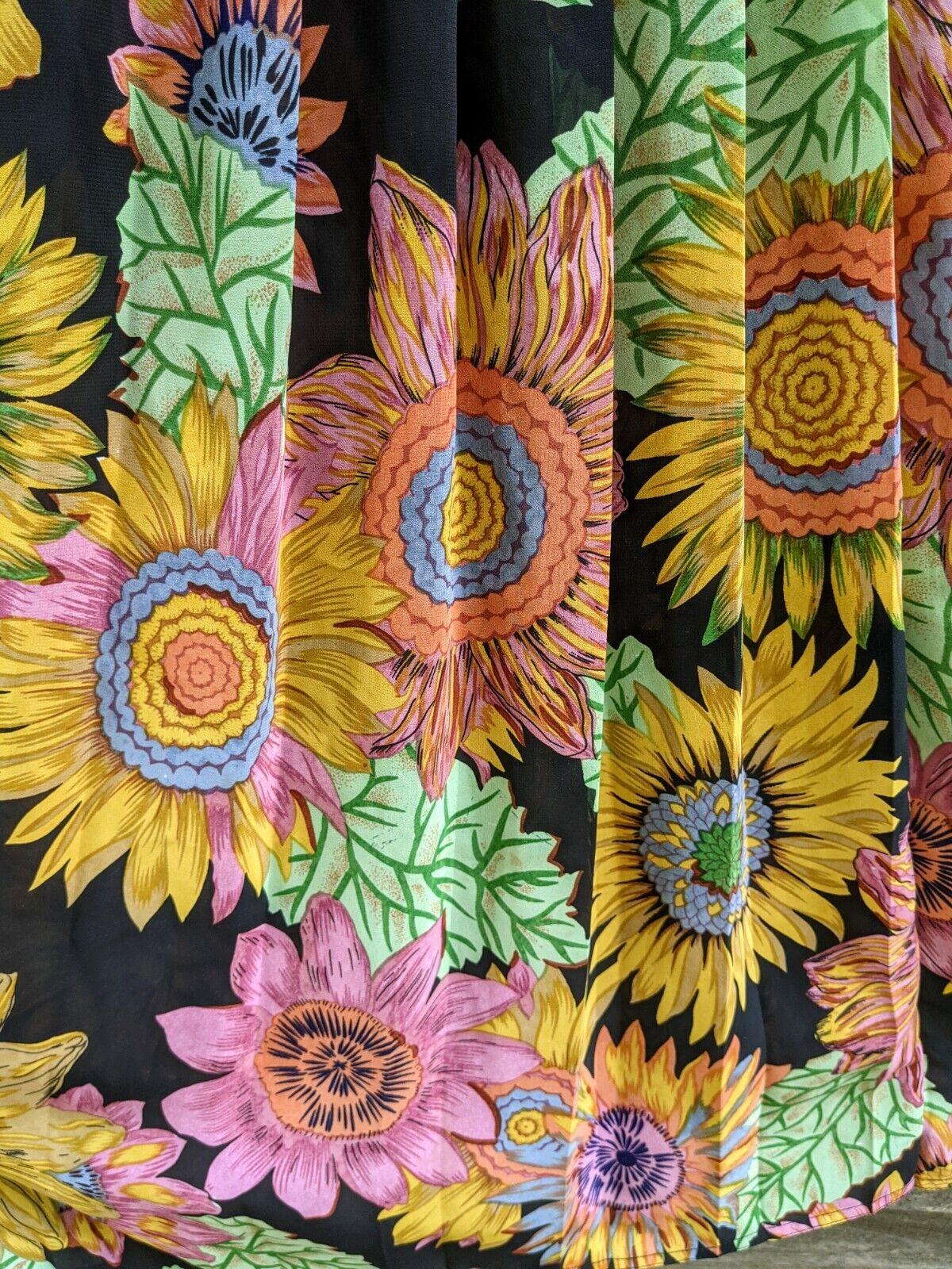 Vtg 90's Midi Dress Sunflowers RARE! Sundress Flo… - image 9