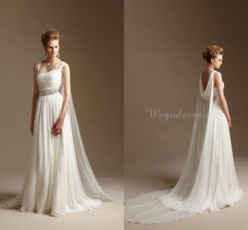 Grecian Wedding Dress Long Chiffon Summer Beach Bridal Gowns with Watteau Train