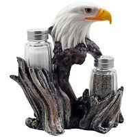 Bald Eagle Glass Salt & Pepper Shakers With Decorative Figurine Display Stand Se on sale