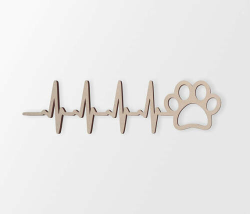 """Wall Hanging,Unfinished Wooden Sign /""""Heart beat paw print/"""" Home Decor Cut Out"""
