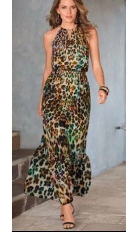 NWT Boston Proper Painted Animal Chain Maxi Dress Sz 10 Resort