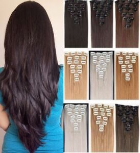 Real natural full head clip in on hair extensions fake remy black image is loading real natural full head clip in on hair pmusecretfo Choice Image