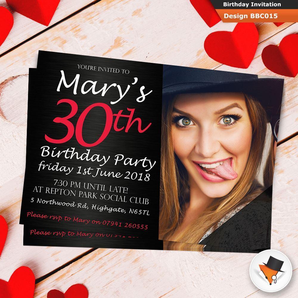 Personalised Photo Birthday Invitations Envs 18th 21st 30th 70th