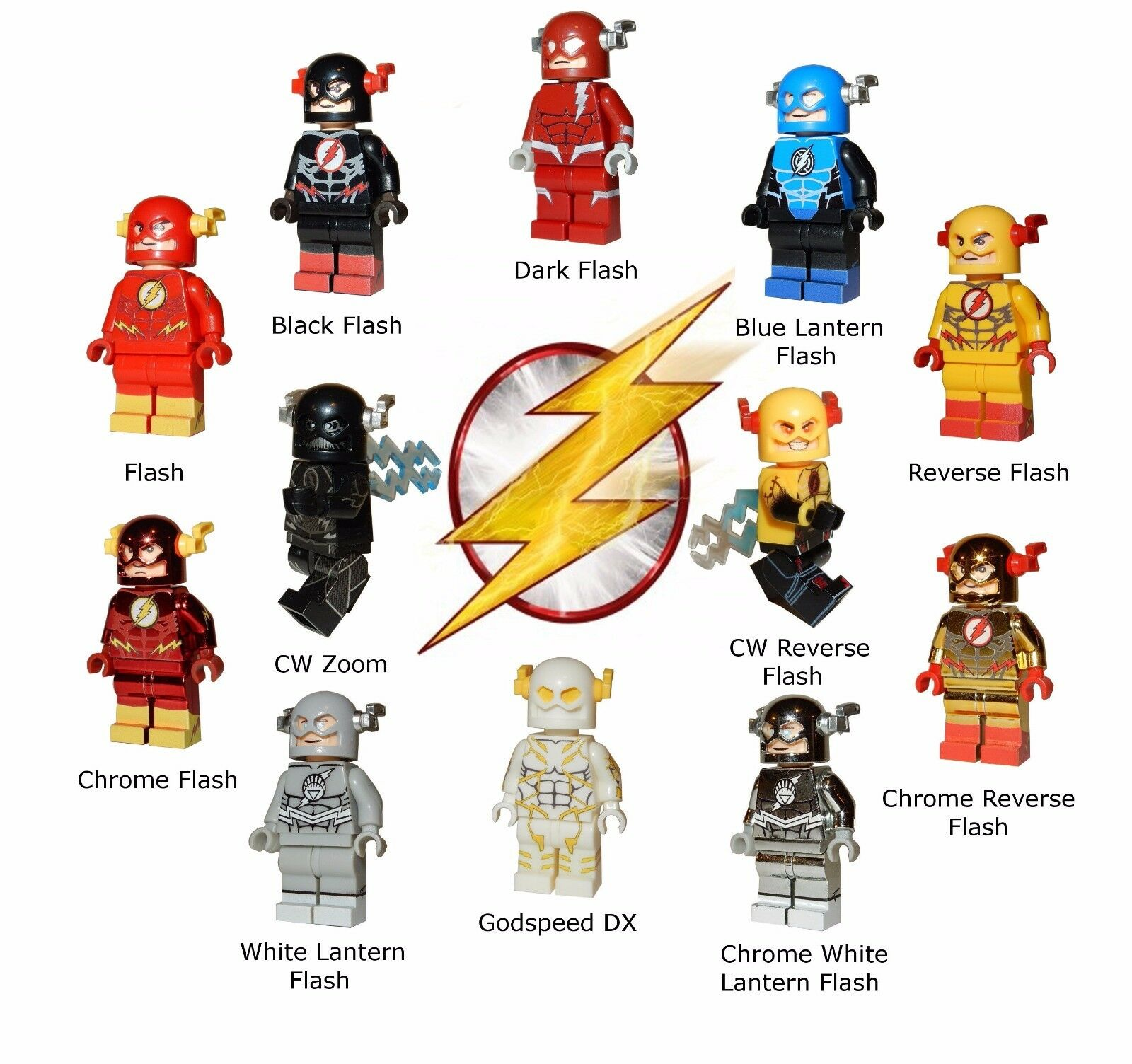 Various NEW LEGO Custom Printed FLASH Minifigures - Godspeed, Zoom, Reverse