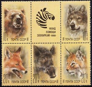 1988 Russia (USSR). Fauna. Zoo Relief Fund. Block. MNH