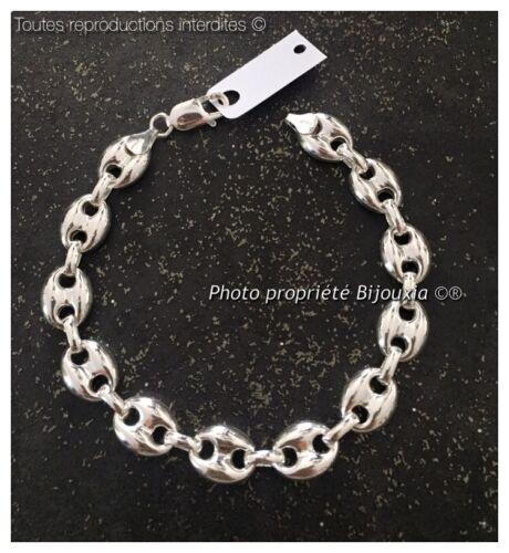 Bracelet Grain De Café Bombés 1 CM X 21 CM LARGE Argent Massif 925//1000 Homme