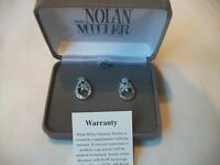 Nolan Miller Dainty Sparkling Silvertone & Crystal Pierced In Gift Box