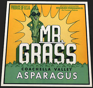 ORIGINAL CRATE LABEL SAN FRANCISCO MR GRASS ASPARAGUS ANTHROPOMORPHIC 1970S #2