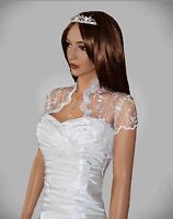 Wedding/bridal White Lace Bolero Jacket Short Sleeve