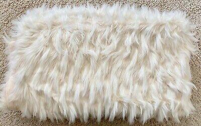 NEW Nicole Miller Ivory Faux Mongolian Fur Throw Blanket Fleece Lined 50x60