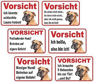 Schild - Vorsicht Boxer Größe 15x20 Bis 60x40cm Hund Türschild