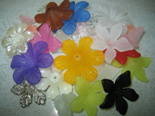 Acrílico flores 20 unidades 10-25mm en diferentes colores formas tamaños