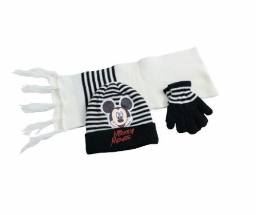 Disney Mickey Mouse Knitted Winter Set Hat Scarf /& Gloves Toddlers Boys One Size