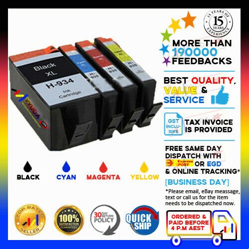 4x NoN-OEM Ink  934XL 935XL 934 935 HY for HP Officejet Pro 6830 6230 Printer