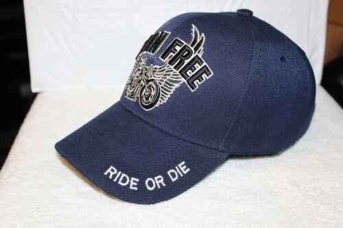 MOTORCYCLE WINGS BORN FREE BIKER RIDE OR DIE BASEBALL CAP DARK BLUE