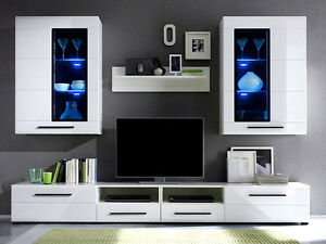 Modern Argus Living Room Furniture Set White Gloss Led Wall Unit Tv