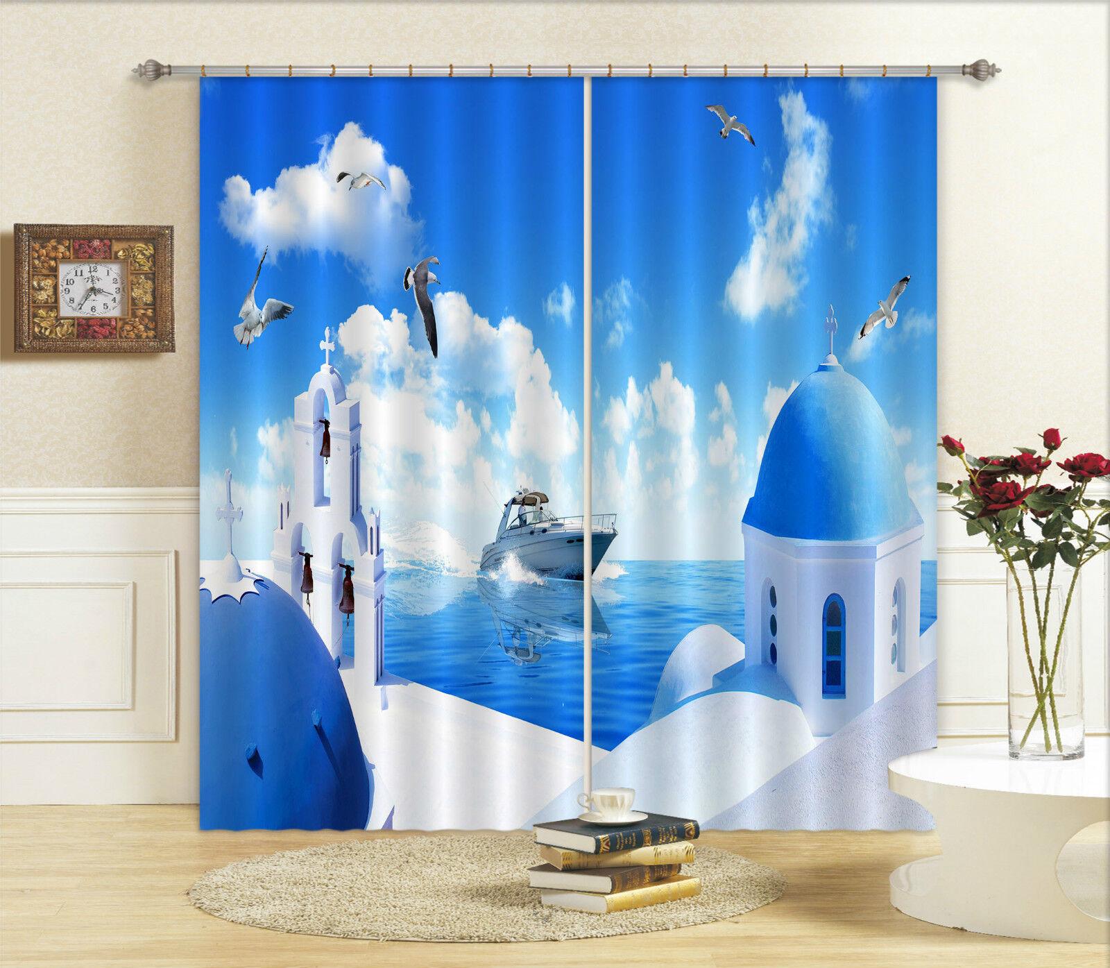 3d isla paisaje bloqueo foto cortina cortina de impresión sustancia cortinas de ventana