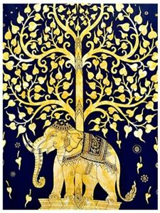 Multicolor Tree Elephant Ethnic Tapestry Poster Indian Wall Hanging Cotton Decor