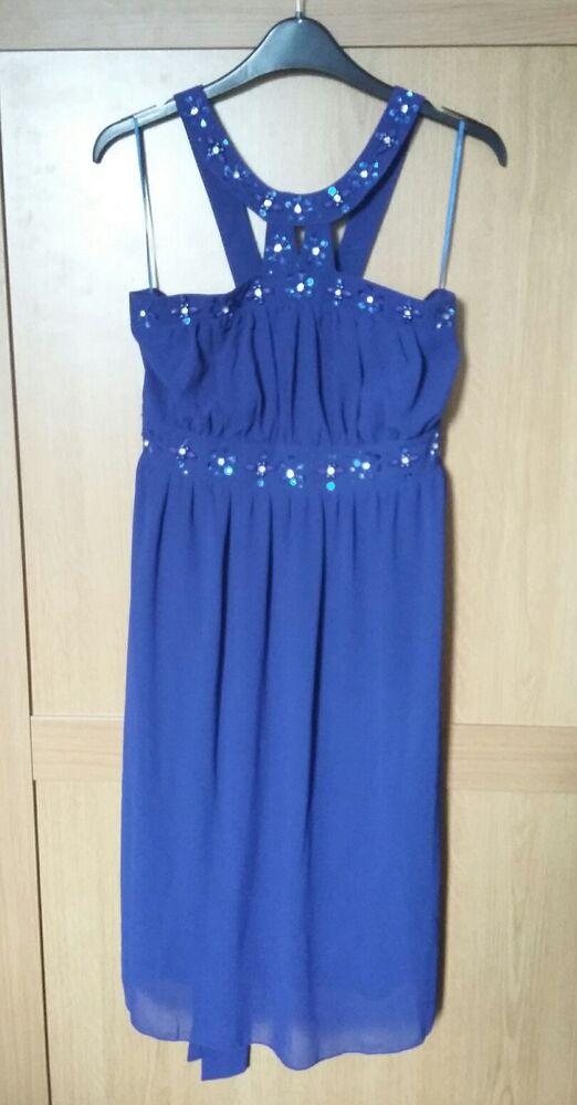 SincèRe Superbe Femmes Environ Taille 14 Bleu Royal Strass Sequin Robe De Soirée Bnwt Peut êTre à Plusieurs Reprises Replié.
