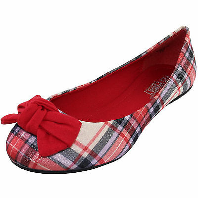 New women's ballet flat ballerina fabric red bow checkers and Plaid casual work