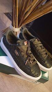 Details zu * Puma Basket Platform VR Damen Mädchen Schuhe Olive Night Gr. 37,5 NEU **