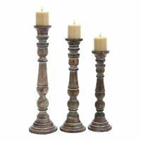Benzara 14342 Artfully Carved Intricate Design Wooden Candle Stand - Set of 3