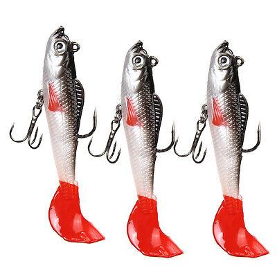 3x Soft Fishing Lures Long 10cm Lead Head Treble Hook Bait T Tail Fishing Lure