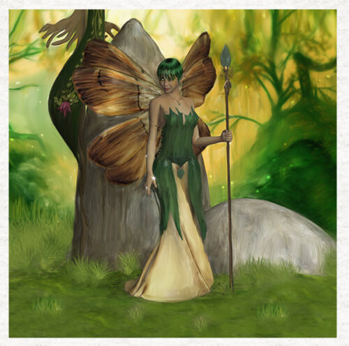 Fairy-Absinthe Forest FairyTissu Coussin Ameublement Craft Quilting Panel