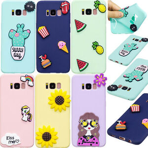 best sneakers 566d4 b9596 Details about New 3D Cute Cartoon Soft Silicone Case Cover Back For Samsung  Galaxy S7 S8 J7 J5