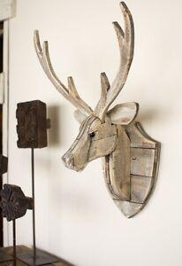 Recycled Wood Deer Head Wall Hanging Rustic Cabin Lodge