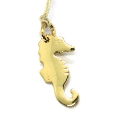 SOLID 18K YELLOW GOLD SEAHORSE FLAT CHARM PENDANT SMOOTH LUMINOUS MADE IN ITALY