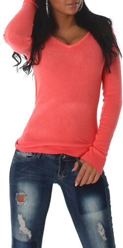 Damen Pullover Pulli V-Auschnitt Sweater Sweatshirt 32 34 36 38 SM