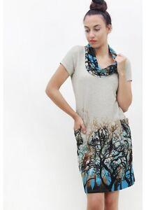 PURPLISH LONDON OWL Dress Vintage Kleid Strickkleid Tunika Eule blau S M L XL
