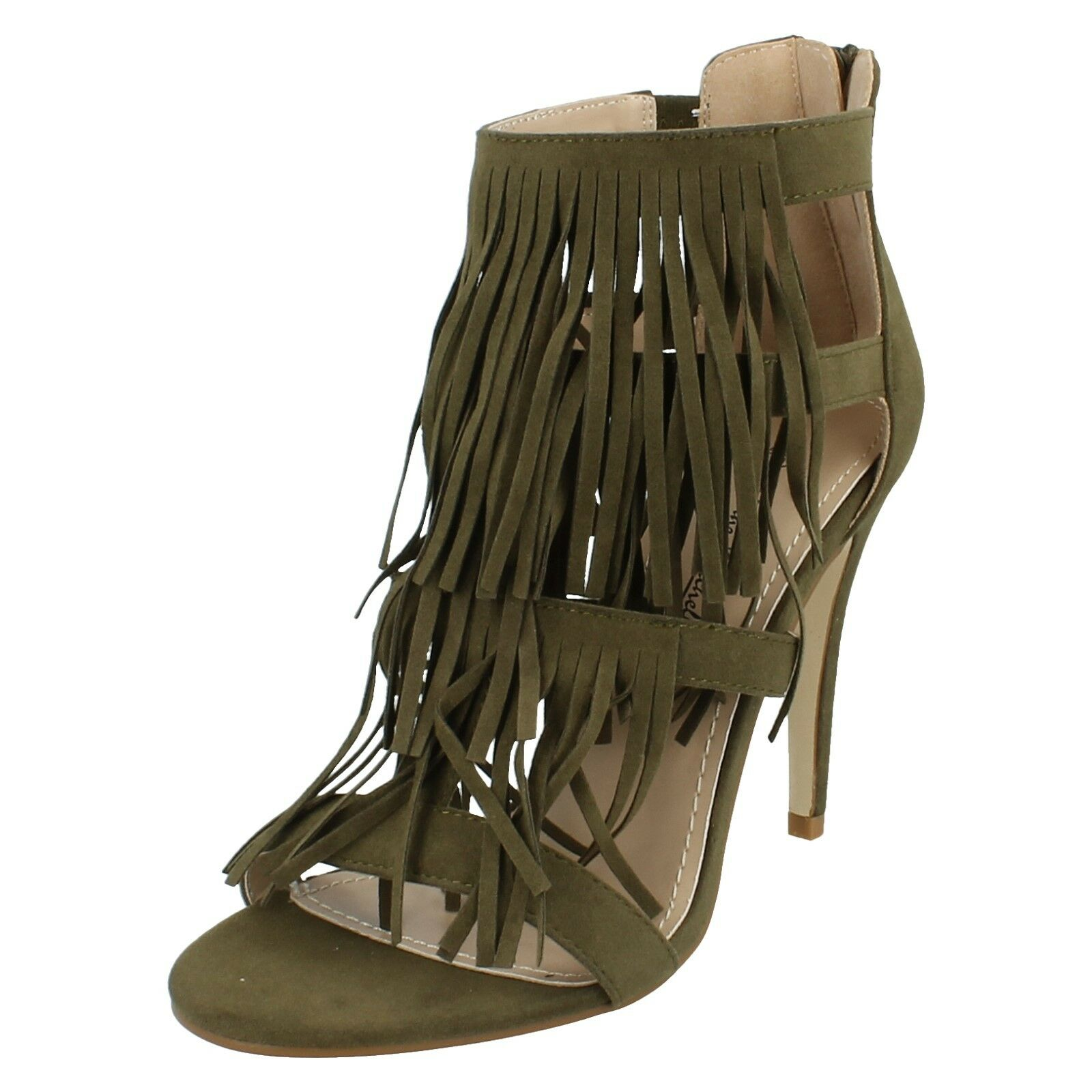LADIES ANNE MICHELLE HIGH HEEL EVENING ZIP UP OPEN TOE EVENING HEEL SANDALS F10531 1c4984