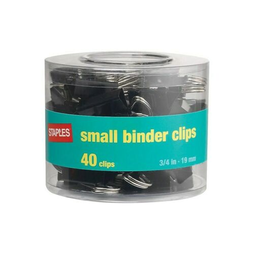 """Staples Small Metal Binder Clips Black 3//4/"""" Size with 3//8/"""" Capacity 831594"""