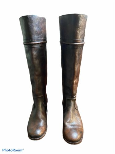 Frye Brown Leather Melissa Trapunto Tall Boots Sz