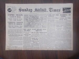 SUNDAY-TIMES-WWII-NEWSPAPER-APRIL-20th-1941-EGYPT-HITLER-039-S-NEXT-OBJECTIVE