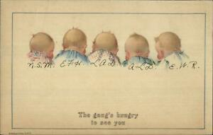 Charles-Twelvetrees-Group-of-Babies-THE-GANG-039-S-HUNGRY-Postcard-c1915