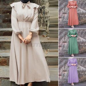 ZANZEA-UK-Women-Long-Sleeve-Slim-Bow-Tie-Abaya-Muslim-Ball-Gown-Tunic-Maxi-Dress