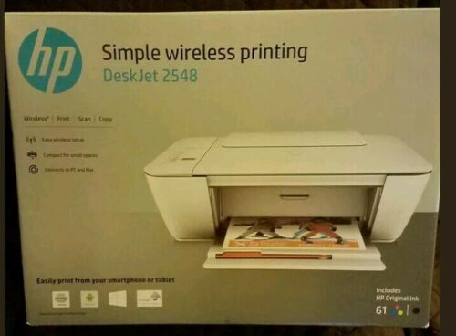 HP ALL-IN-ONE WIRELESS DESKJET PRINTER 2548 WITH INK,BRAND NEW SEALED RETAIL BOX