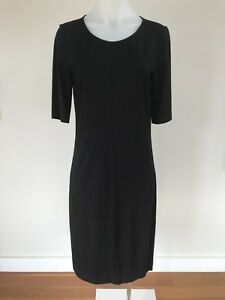 DIANE-von-FURSTENBERG-Black-Jersey-Shift-Dress-LBD-Size-L