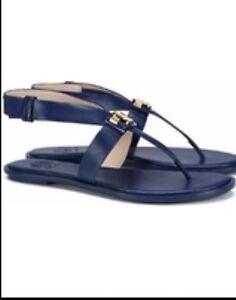 fc3d4a085ab979 NWB Tory Burch Flat Sandals 6M Navy Blue Sea Gigi Flat Sandals