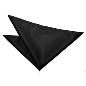 Black-Handkerchief-Hanky-Solid-Plain-Mens-Formal-Accessories-by-DQT