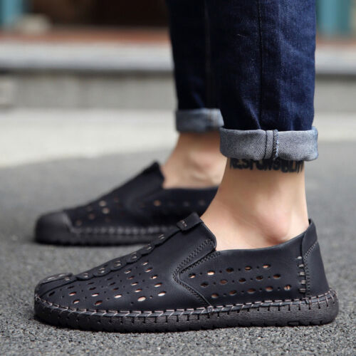Mens Summer Breathable Lace Up//Pull On Loafer Casual Comfy Gommino Driving Shoes