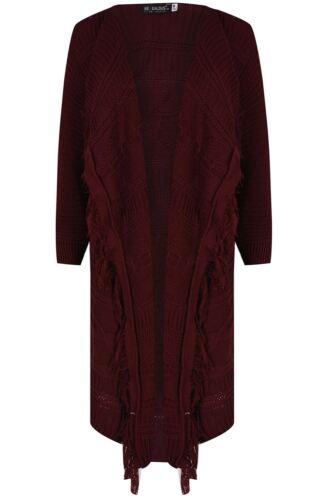Da Donna Aperto Davanti FULL Sleeve RIB MIDI LEN Cardigan Donna Nappa CAPE Plus Size
