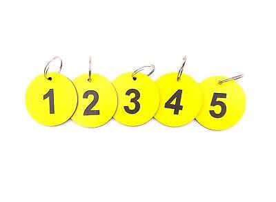 Circolare, Alta Visibilità, Giallo, Portachiavi, Chiave Etichette, Numerati 1-5