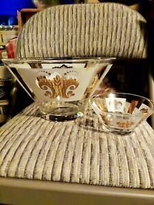 Vintage-Anchor-Hocking-Festive-Gold-White-on-Clear-Chip-and-Dip-Bowl-Set-MCM
