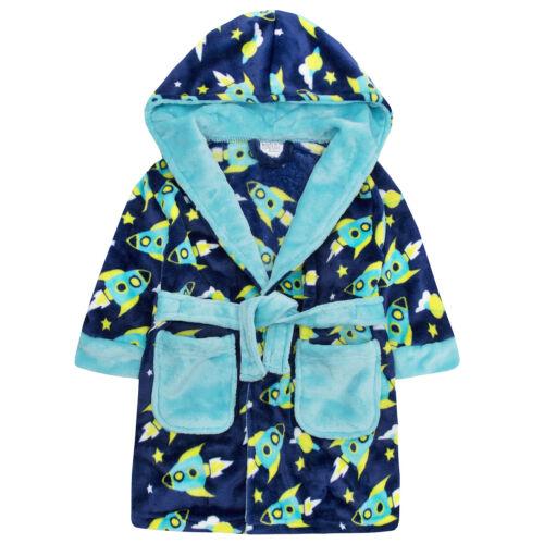 Minikidz Infant Childs Boys Rocket Space Dressing Gown Hooded Fleece Robe New